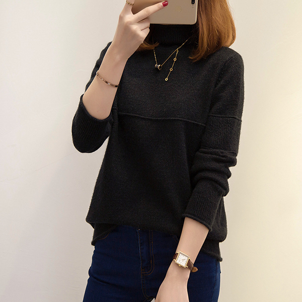 Plain Full Sleeved Ribbed T-Shirt - Black