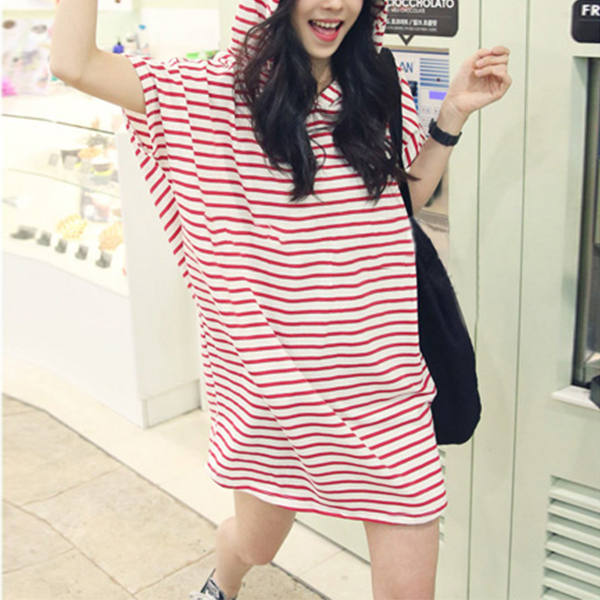 Hoodie Stripes Print Summer Long T-Shirt - Red