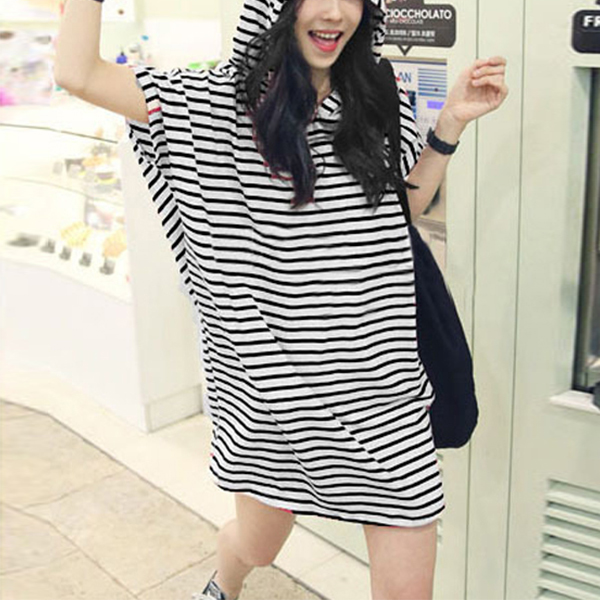 Hoodie Stripes Print Summer Long T-Shirt - Black And White