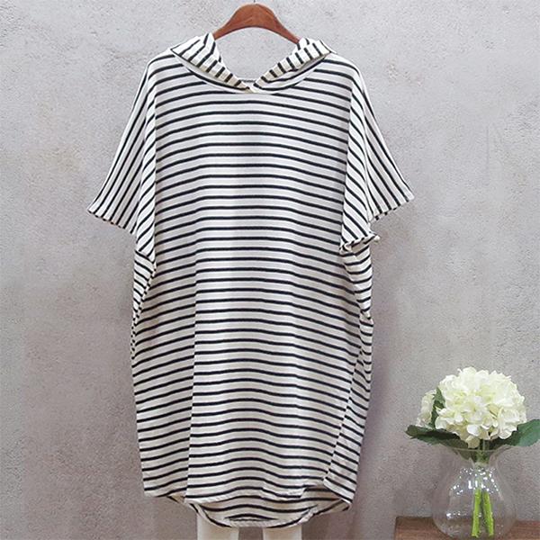 Hoodie Stripes Print Summer Long T-Shirt - Black And White