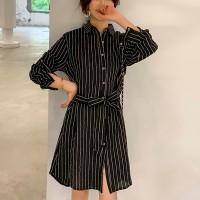 Shirt Collar Striped Mini Shirt Dress - Black