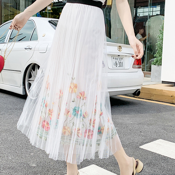 Floral Print Chiffon Pleated Fancy Skirt - White