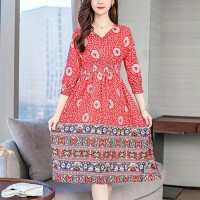 Bohemian Printed A-Line Summer Wear Dress - Red