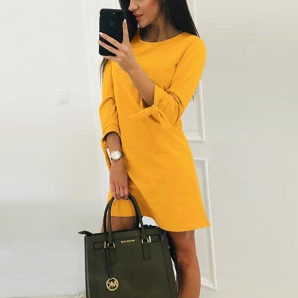 Round Neck Solid Elegant A-line Women Dress - Yellow