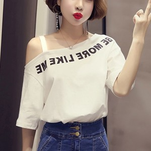 Text Prints Slash Neck Loose T-Shirt - White