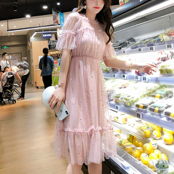 Decorated Round Neck Transparent Net Party Dress - Pink