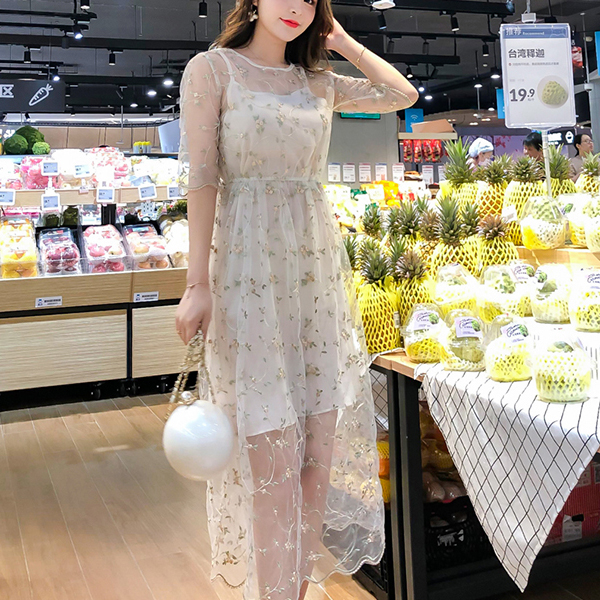 Embroidery Net Transparent Party Wear Maxi Dress - Apricot