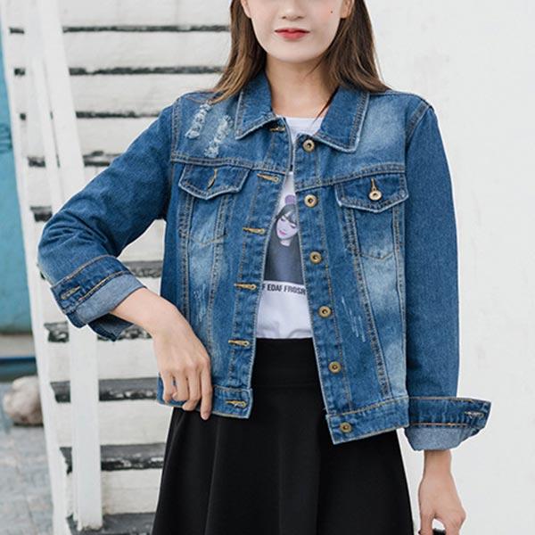 Button Closure Denim Loose Female Jackets - Blue