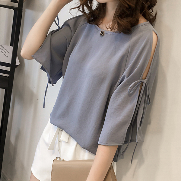 Boat Neck String Sleeves Loose Blouse Shirt - Blue