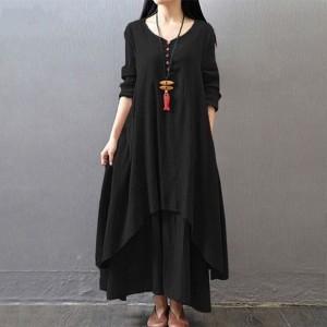 Button Up Multi Layered Flare Bohemian Maxi Dress - Black