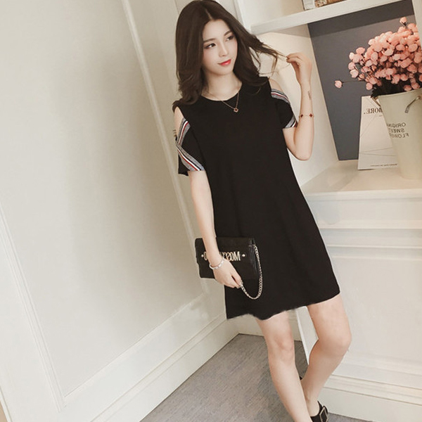 Cold Shoulder Contrast Mini Solid Color Dress