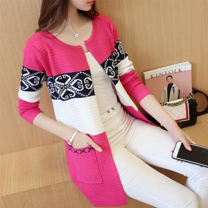 Lace Patched Contrast Long Cardigan - Pink