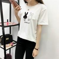 Rabbits Pattern O Neckline Short Sleeves T-Shirt - White