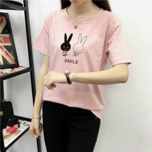 Rabbits Pattern O Neckline Short Sleeves T-Shirt - Pink