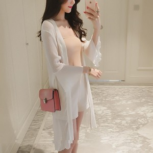 Speaker Sleeves Light Fabric Chiffon Cardigan - White