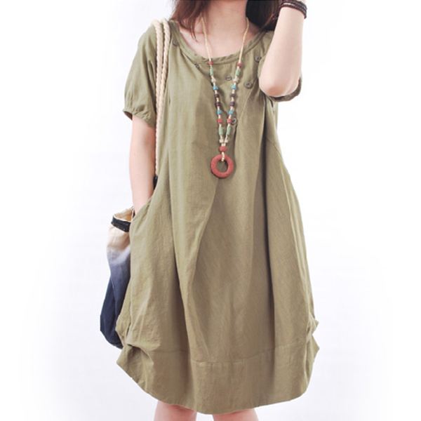 Cross Wrap Button Light Fabric Summer Dress - Green