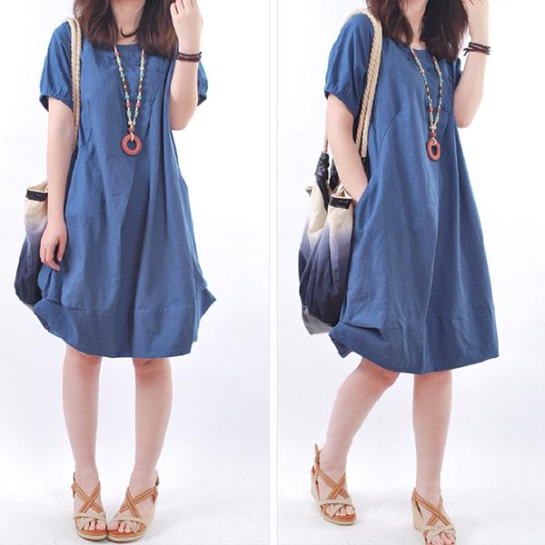 Cross Wrap Button Light Fabric Summer Dress - Blue
