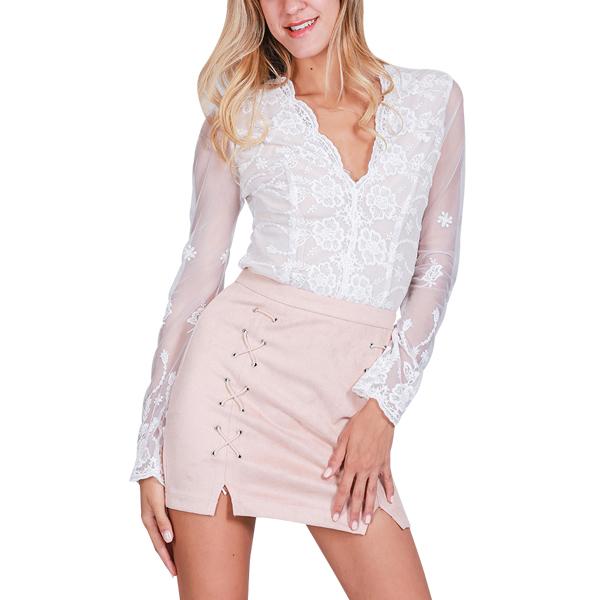 Lace-Up Pencil High Waist Zipper Split Bodycon Short Skirt