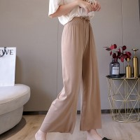 Waist String Wide Bottom Palazzo Pants - Khaki