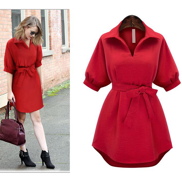 Shirt Collar Half Sleeves Waist Belt Mini Dress - Red