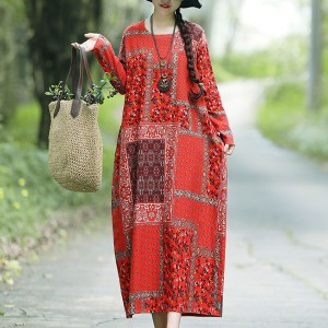 Patchwork Round Neck Loose Maxi Dress - Red
