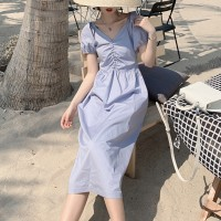 Short Sleeved V Neck Casual Wear Midi Dress