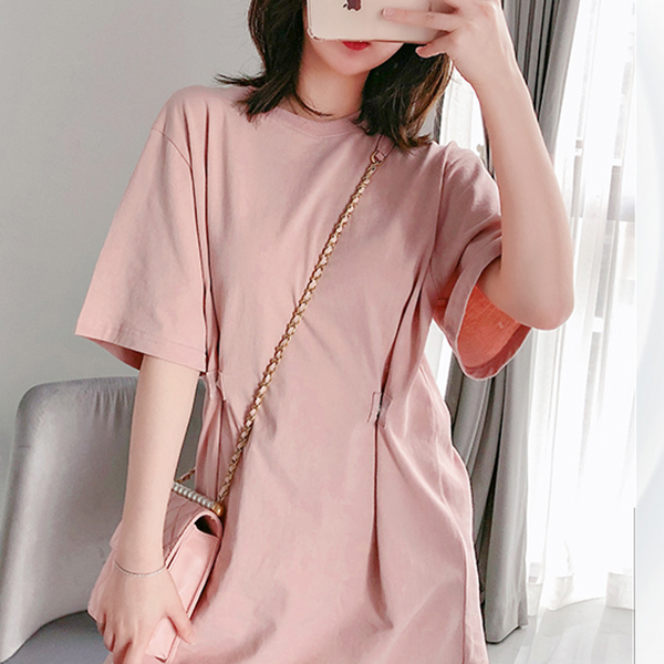 Round Neck Loose T-Shirt Dress - Pink