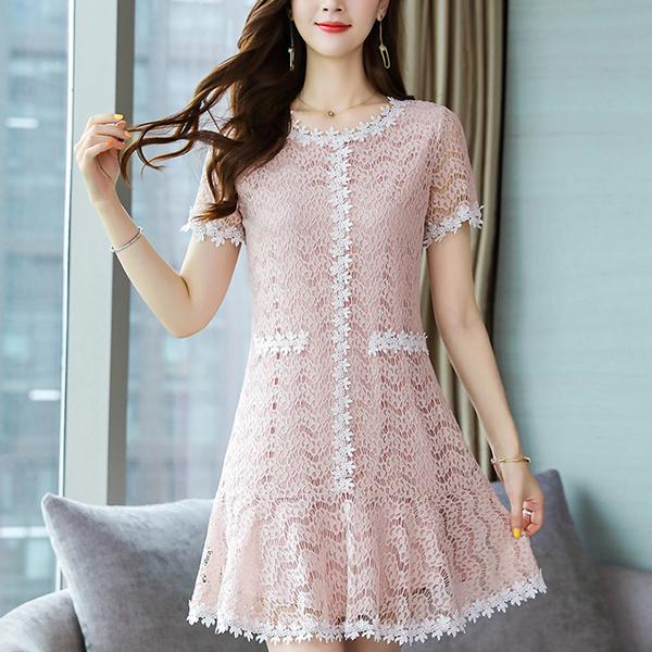 Decorative Lace Textured Mini Dress - Apricot