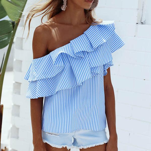 Blue Sexy Stripe Pattern One Shoulder Flouncy Top