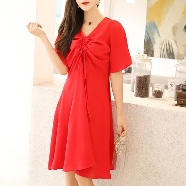 Drawstring V Neck Stylish Party Dress - Red