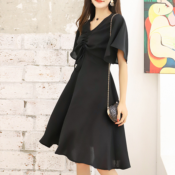 Drawstring V Neck Stylish Party Dress - Black