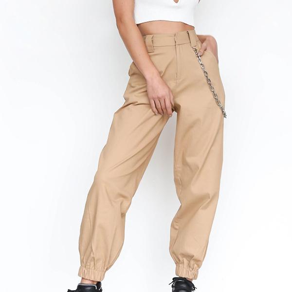 Smart Baggy Casual Wear Narrow Bottom Trousers - Khaki