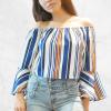 Off Shoulder Multicolor Striped Top For Women