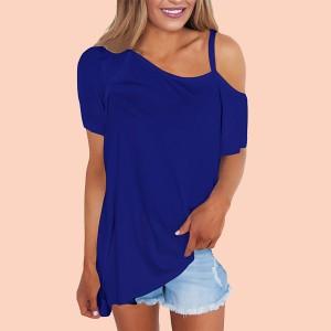 Casual Top Neckline Asymmetrical Loose Fashion Top Blue