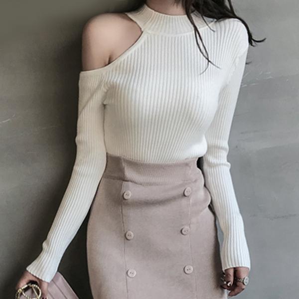 Halter Neck Cold Shoulder Full Sleeves Blouse Top - White
