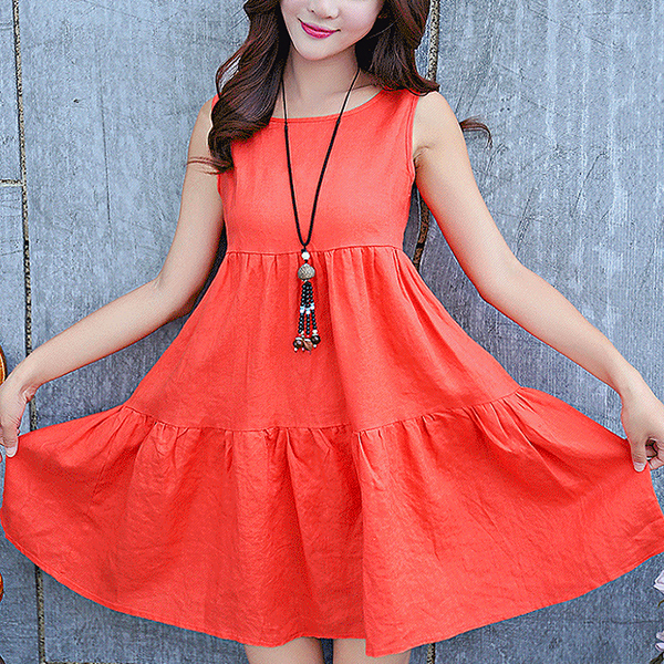 Sleeveless Round Neck Pleated A-Line Mini Dress - Red