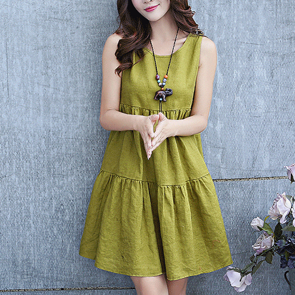 Sleeveless Round Neck Pleated A-Line Mini Dress - Green