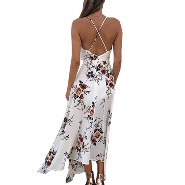 Floral Print Beach Maxi Strapless Backless Dress White