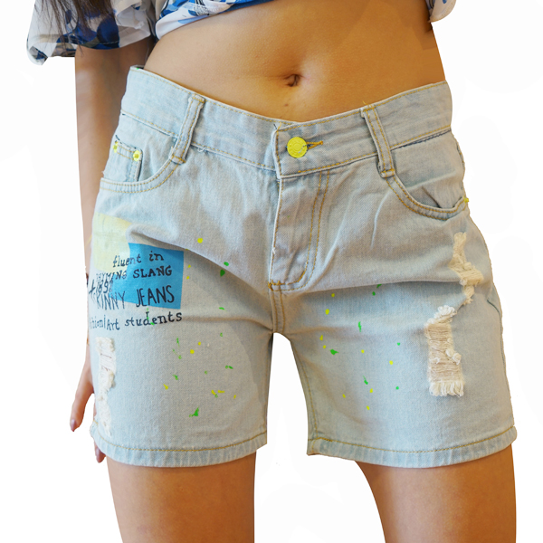Funky Denim Shorts Women Casual Short Pants