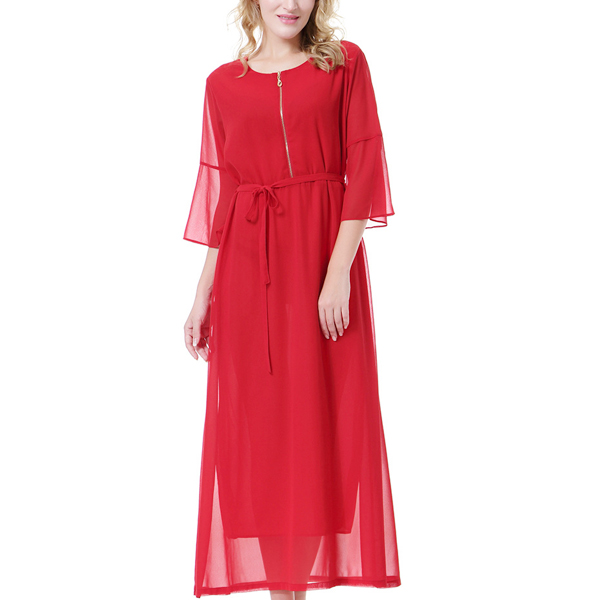 Breathable Maxi Dubai Fashion Double Layer Dress Red