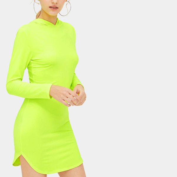 Hoodie Neck Slim Fit Round Hem Dress