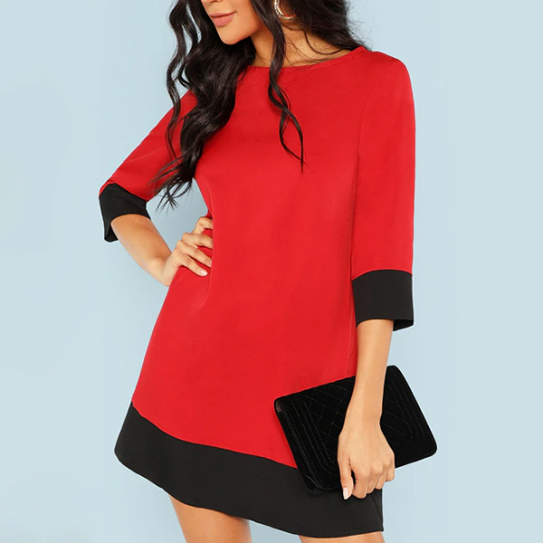 Black Contrast Plain Red Party Mini Dress