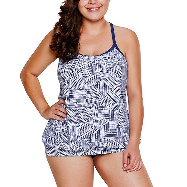 Strips Print Shoulder Straps Split Tankini Set - Blue White