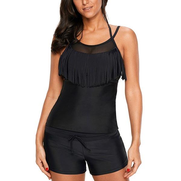 Round Neck Tassels Slim One Piece Women Swimsuit - Black
