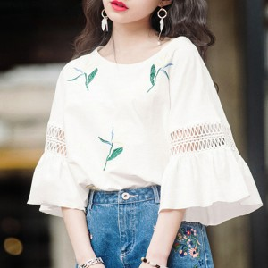 Flare Sleeves Printed Loose Blouse Shirt - White