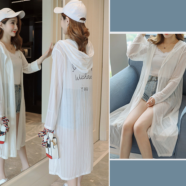 Chiffon Transparent Summer Wear Cardigan - White
