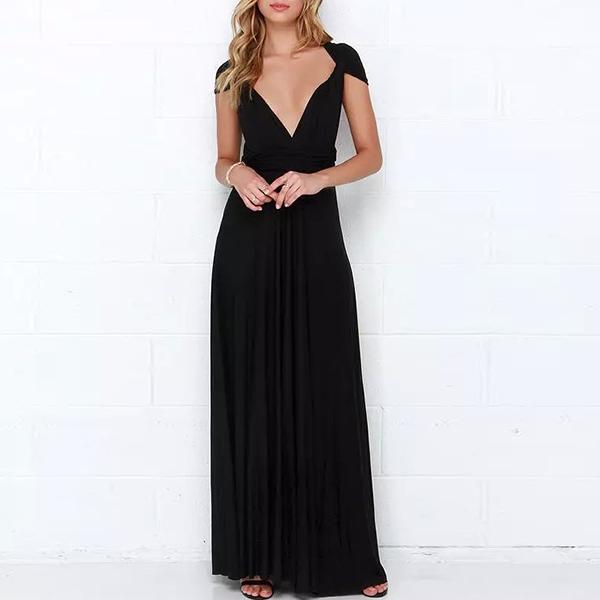 Halter Knotted Neck Full Length Maxi Dress - Black