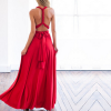 Halter Knotted Neck Full Length Maxi Dress - Red