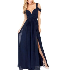 Cold Shoulder Sweet Heart Neck Dark Blue Party Maxi