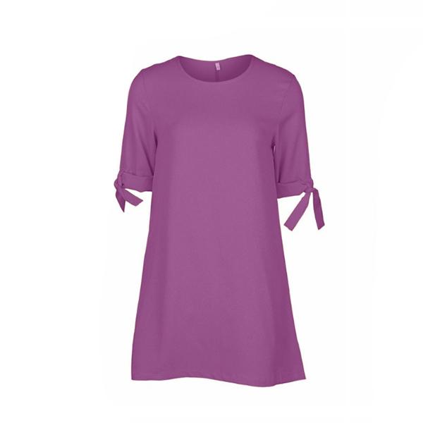 Summer Half Sleeve O-neck Loose Casual Blouse Purple